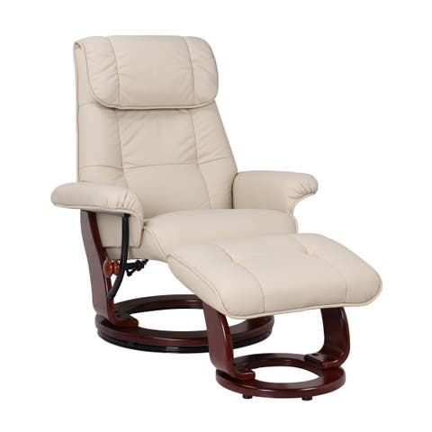 Norske Leather Recliner and Ottoman