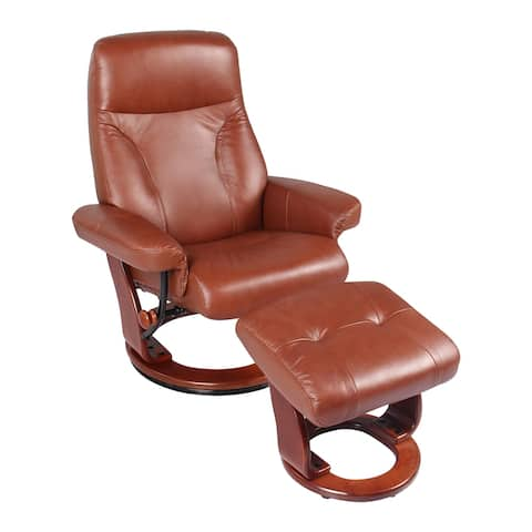 Almond Leather Recliner and Ottoman