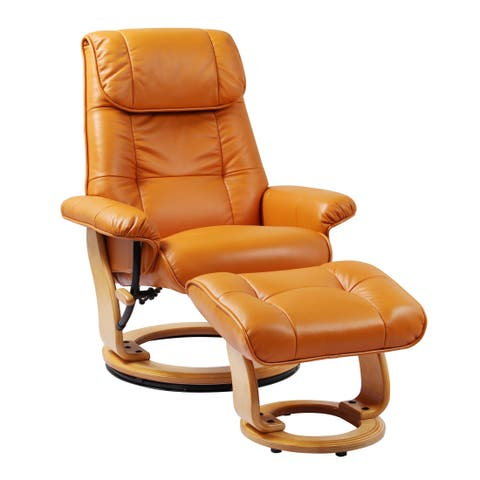 Cecil Top Grain Leather Recliner and Ottoman