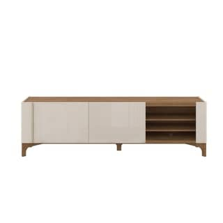 Gowanus 80 In. Solid Wood Leg Modern TV Stand with Media Shelves
