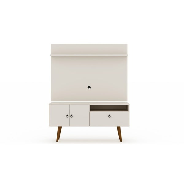 Tribeca 54 In. Mid Century Modern TV Stand and Panel with Display Shelves