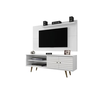 Liberty 63 In. Mid Century Modern Wood Leg TV Stand and Panel