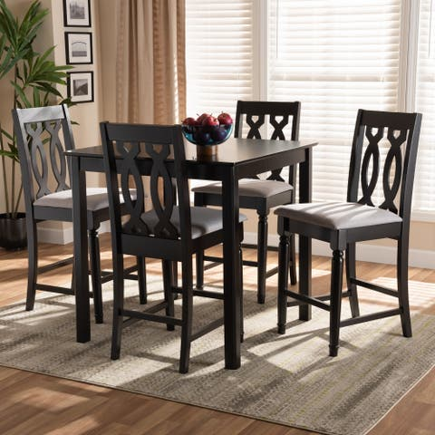 Darcie Modern and Contemporary Upholstered 5-Piece Wood Pub Set