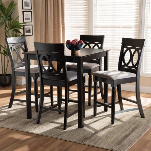 Verina Modern and Contemporary Upholstered 5-Piece Wood Pub Set