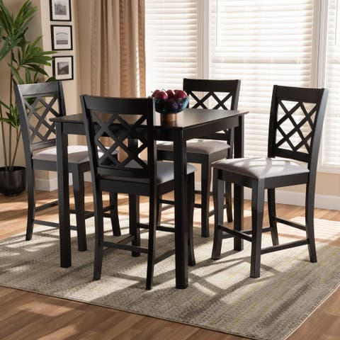 Alora Modern and Contemporary Upholstered 5-Piece Wood Pub Set