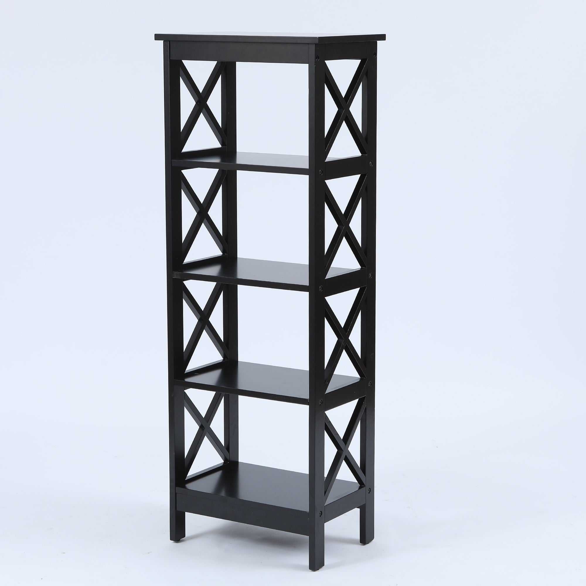 Black X Sided Narrow 4 Tier Bookcase