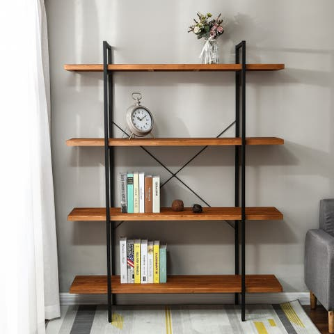 66.5in. H 4-Tier Wood Etagere Bookcase