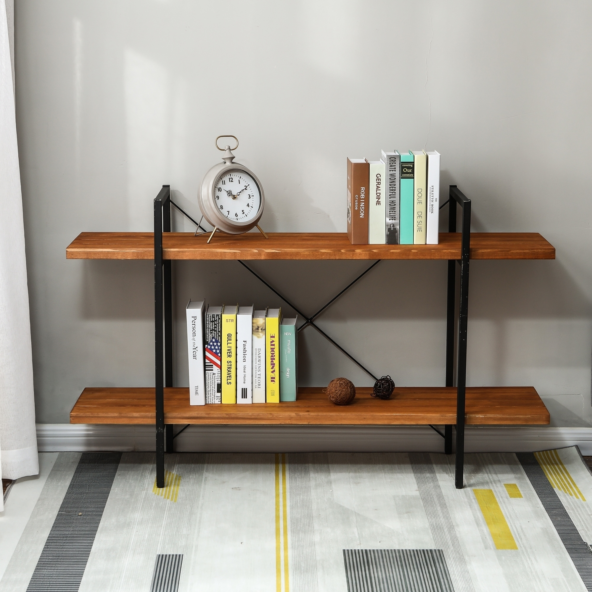 31in H 2 Tier Wood Etagere Bookcase