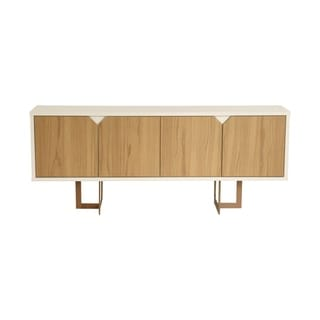 Knickerbocker Brown Wood Modern 6 Shelf Sideboard and Steel Base