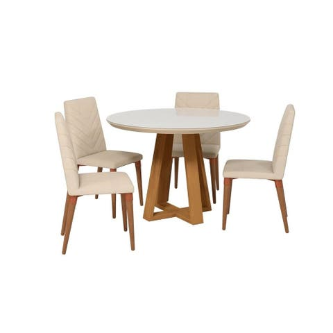 Duffy Modern Round Dining Table and Utopia Chevron Dining Chairs Set of 5