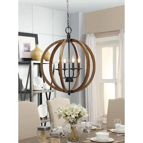 The Gray Barn Vineyard Mahogany and Bronze 4-light Globe Chandelier