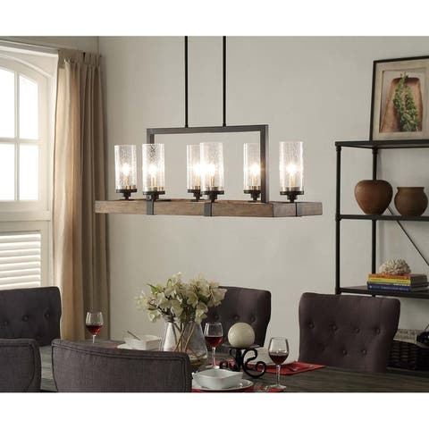 The Gray Barn Vineyard Wood 6-light Linear Chandelier with Seeded Glass Shades