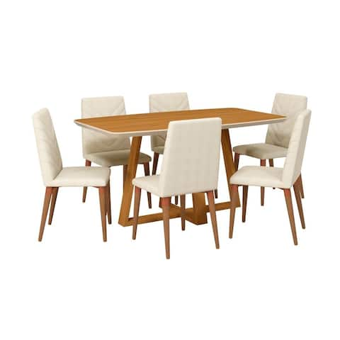 Duffy Modern Rectangle Dining Table and Utopia Chevron Dining Chair Set of 7