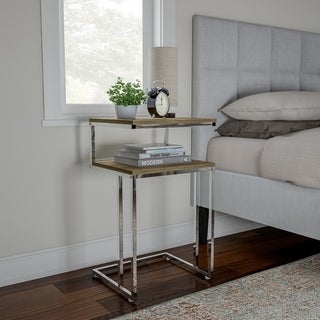 Two-Tier Table - C Shaped Side Table with Two Shelves by Lavish Home - 16.5 x 14.25 x 27.75