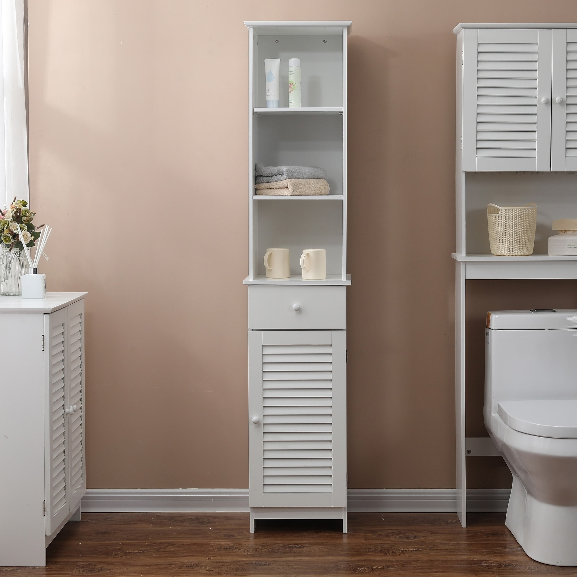 Bathroom 64 2in H Tall Cabinet In White