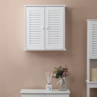 Shutter-Door Bathroom Wall Cabinet in White