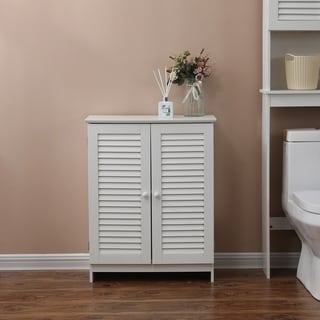 Shutter-Door Bathroom 23.6in.W Storage Cabinet in White