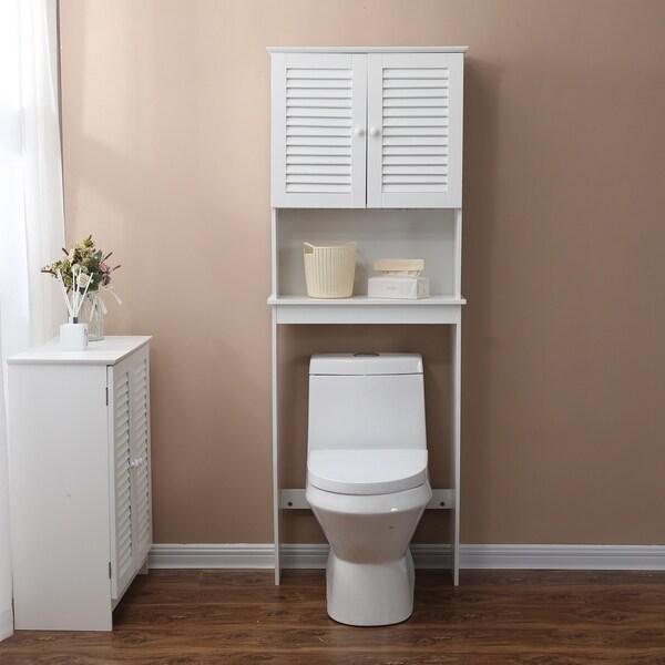 Shutter-Door Bathroom Over the Toilet Cabinet in White