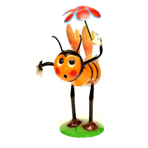 Yellow & Black Bee & Flower Statue - N/A