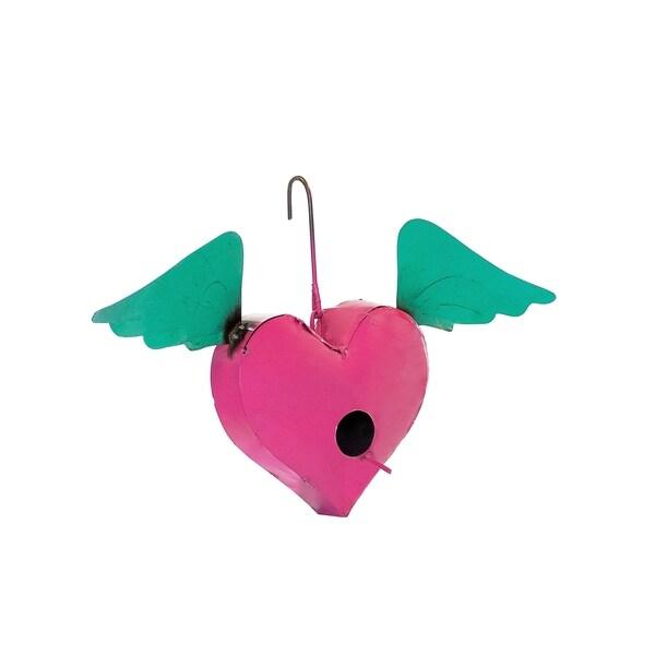 Pink & Blue Hanging Heart Bird