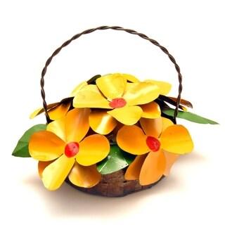 Yellow Daisy Basket Garden Decor