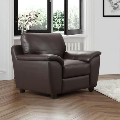Abbyson Sedona Brown Top Grain Leather Armchair