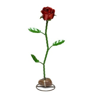 Rose with Rock Base for Decor,