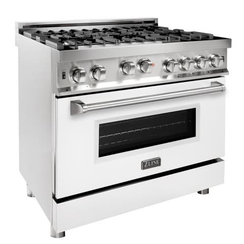 36 in. Gas on Gas Range in Stainless Steel with White Matte Door