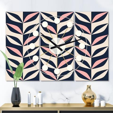 Designart 'Floral Retro Botanical Pattern III' Oversized Mid-Century wall clock - 3 Panels