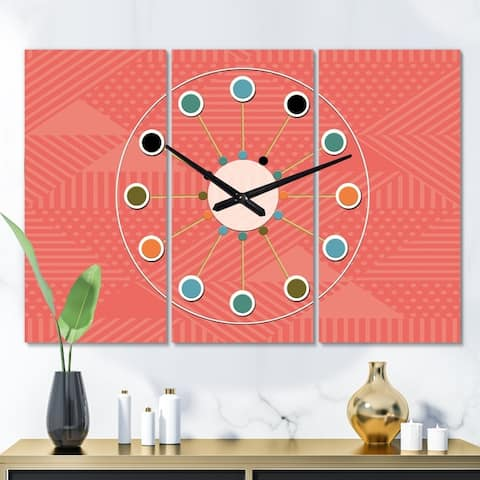 Designart 'Triangual Retro Coral Pattern' Oversized Mid-Century wall clock - 3 Panels - 36 in. wide x 28 in. high - 3 Panels