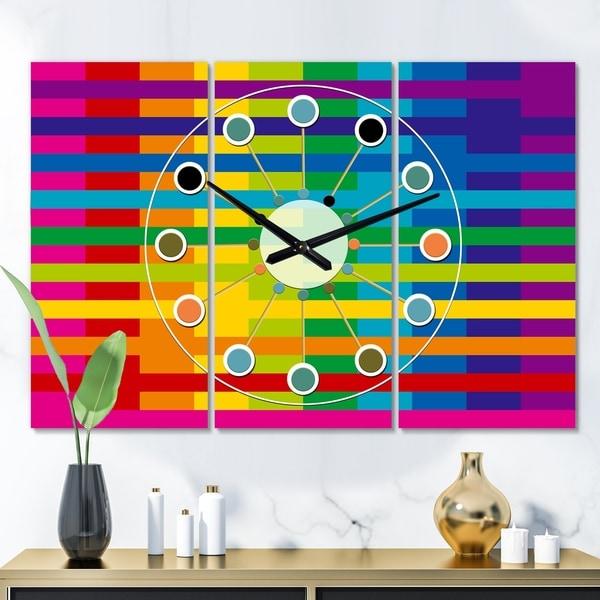 Designart 'Rainbow colors simple geometric pattern.' Oversized Mid-Century wall clock - 3 Panels