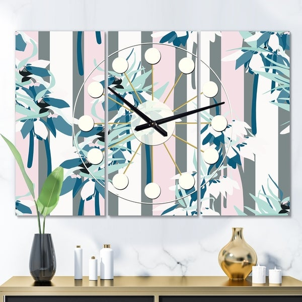 Designart 'Retro Handdrawn Lilies' Oversized Mid-Century wall clock - 3 Panels - 36 in. wide x 28 in. high - 3 Panels