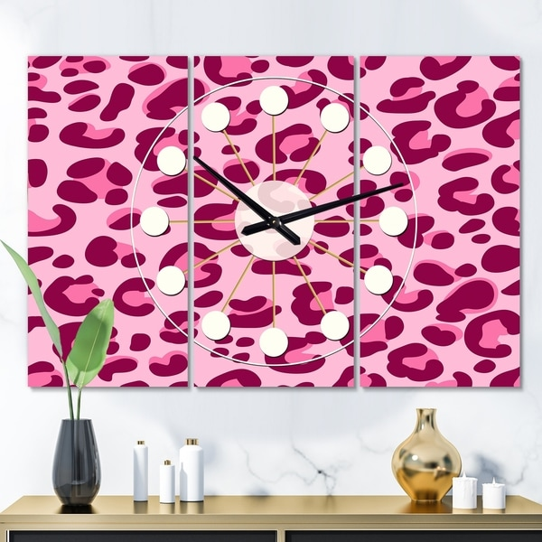 Designart 'Pink Leopard Pattern ' Oversized Mid-Century wall clock - 3 Panels - 36 in. wide x 28 in. high - 3 Panels