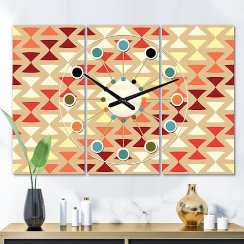 Designart 'Triangular Retro Design IX' Oversized Mid-Century wall clock - 3 Panels - 36 in. wide x 28 in. high - 3 Panels