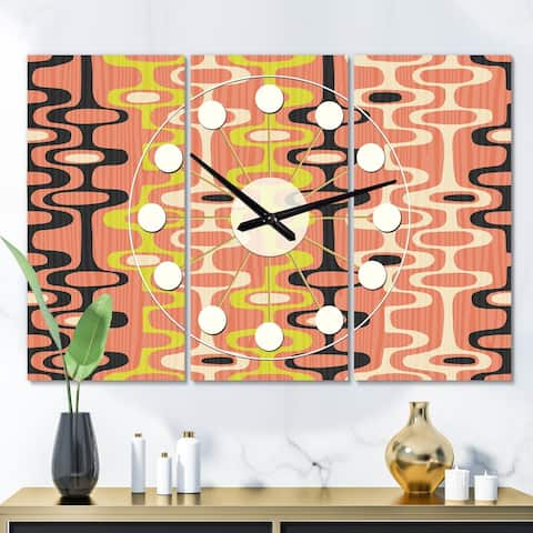 Designart 'Retro Abstract Design XIII' Oversized Mid-Century wall clock - 3 Panels - 36 in. wide x 28 in. high - 3 Panels