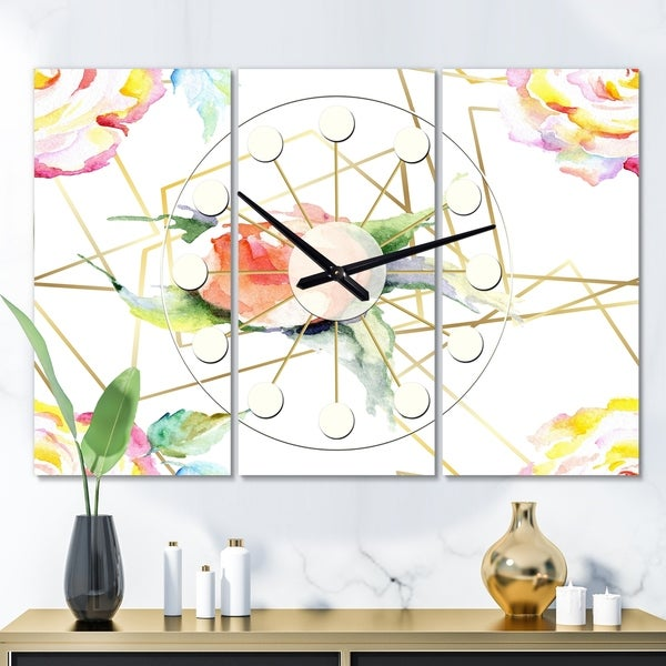 Designart 'Orange Rose Flower Retro Pattern' Oversized Mid-Century wall clock - 3 Panels - 36 in. wide x 28 in. high - 3 Panels