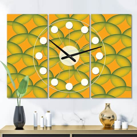 Designart 'Retro Abstract Design in Yellow and Green ' Oversized Mid-Century wall clock - 3 Panels