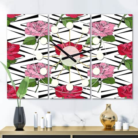 Designart 'Retro Pink and Red Roses' Oversized Mid-Century wall clock - 3 Panels - 36 in. wide x 28 in. high - 3 Panels