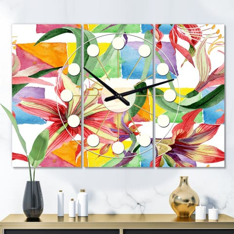 Designart 'Retro Floral Botanical I' Oversized Mid-Century wall clock - 3 Panels - 36 in. wide x 28 in. high - 3 Panels