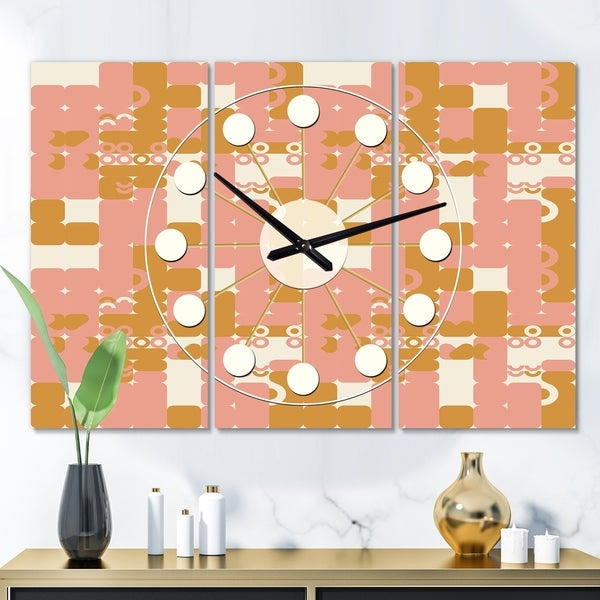 Designart 'Pink Retro Abstract Design' Oversized Mid-Century wall clock - 3 Panels - 36 in. wide x 28 in. high - 3 Panels