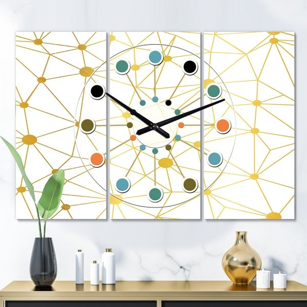 Designart 'Golden Grid I' Oversized Mid-Century wall clock - 3 Panels - 36 in. wide x 28 in. high - 3 Panels