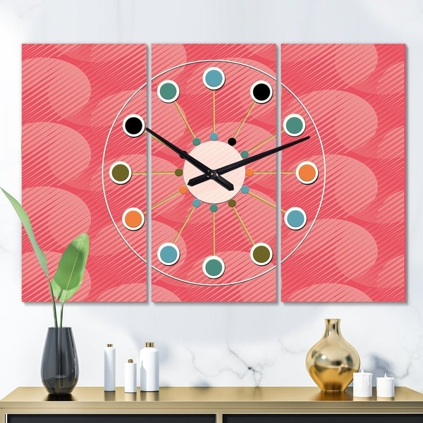 Designart 'Coral Round Geometrical ' Oversized Mid-Century wall clock - 3 Panels - 36 in. wide x 28 in. high - 3 Panels