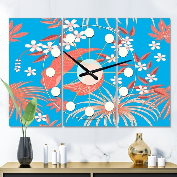 Designart 'Tropical Retro Foliage Coral II' Oversized Mid-Century wall clock - 3 Panels - 36 in. wide x 28 in. high - 3 Panels