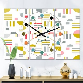 Designart 'Retro Abstract Design XVI' Oversized Mid-Century wall clock - 3 Panels - 36 in. wide x 28 in. high - 3 Panels