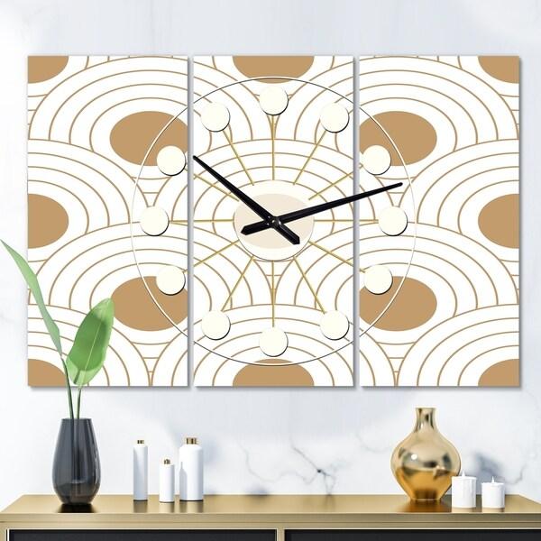 Designart 'Circular Retro Design' Oversized Mid-Century wall clock - 3 Panels - 36 in. wide x 28 in. high - 3 Panels