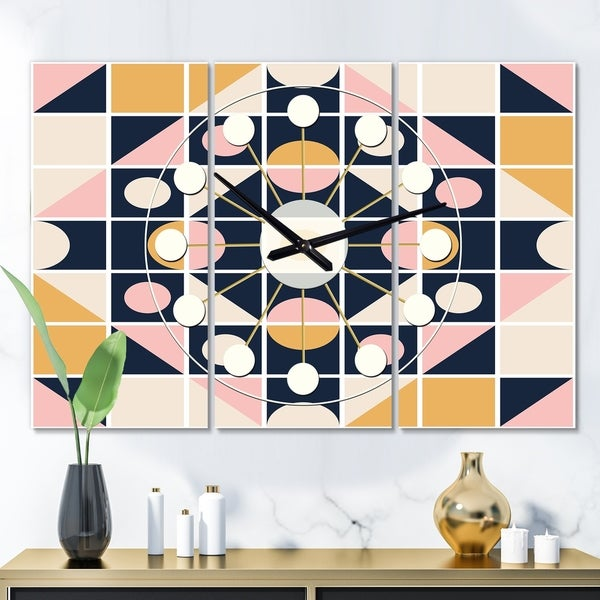 Designart 'Geometrical Retro Design I' Oversized Mid-Century wall clock - 3 Panels - 36 in. wide x 28 in. high - 3 Panels