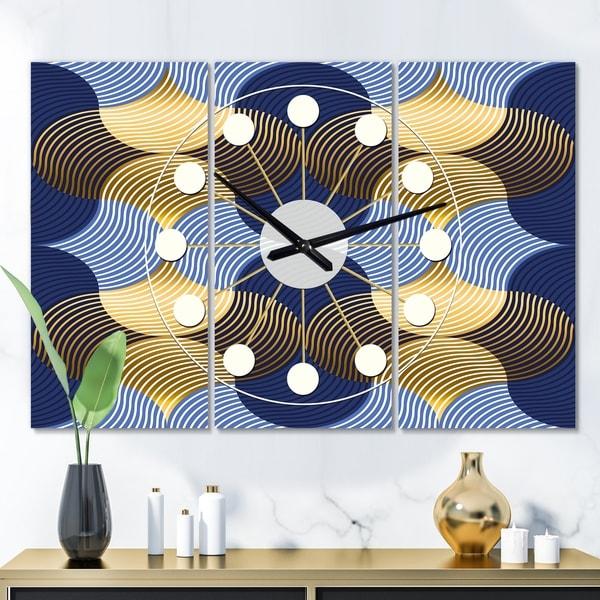 Designart 'Retro Luxury Waves In Gold and Blue II' Oversized Mid-Century wall clock - 3 Panels