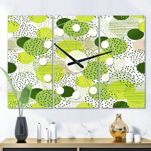 Designart 'Circular Abstract Retro Geometric X' Oversized Mid-Century wall clock - 3 Panels