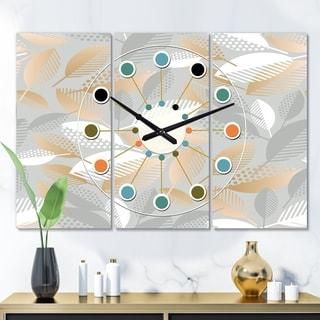 Designart 'Luxury geometric fall leaves pattern' Oversized Mid-Century wall clock - 3 Panels