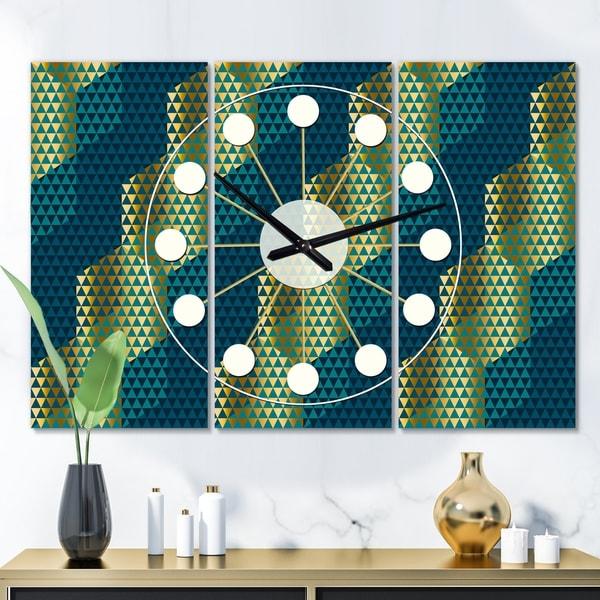 Designart 'Retro Hexagon Pattern V' Oversized Mid-Century wall clock - 3 Panels - 36 in. wide x 28 in. high - 3 Panels